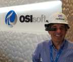 OSIsoft Technology Analyst Michael Kanellos is the first recipient of the HMT-1 voice-driven, hands-free, head-mounted tablet (Photo: Business Wire)