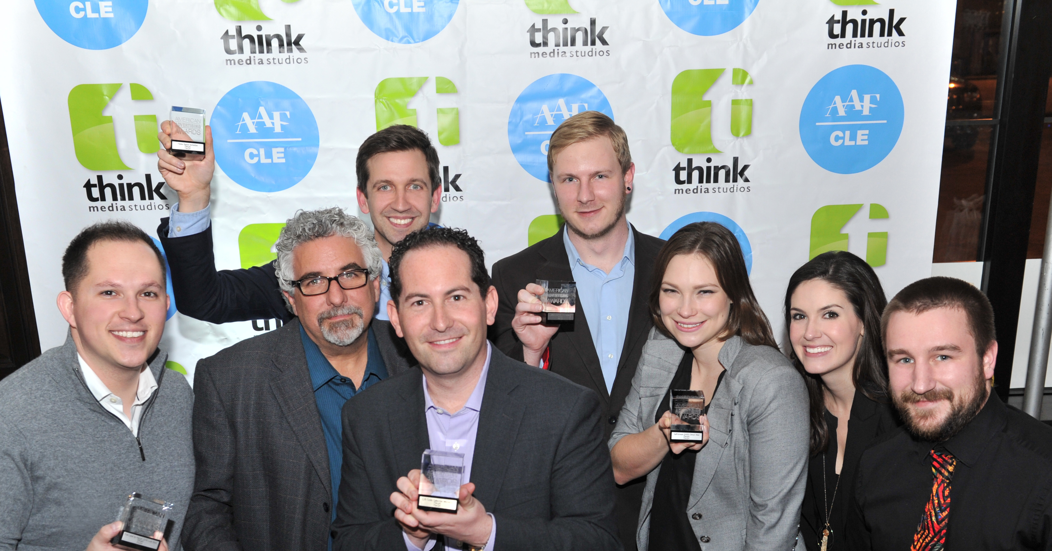 Flexjet's marketing team celebrates at the 2016-2017 American Advertising (ADDY) Awards held at the American Advertising Federation (AAF)-Cleveland annual Awards Show, after being honored with five ADDY awards for their outstanding work in 2016. Front, from left: Ryan Gushue, Tom Goddard, Jonathan Levey, Aveanna Salicce, Ashley Landreneau, Chris Steuer. Back, from left: Joel Milani, Justin Gibson. (Photo: Business Wire)