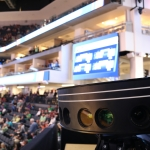 Intel True VR cameras capture footage of upcoming basketball games. During the NCAA March Madness tournament, Intel will showcase how Intel True VR and 360-degree replay technologies are creating immersive, highly personalized experiences for fans. (Credit: Intel Corporation)