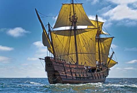 Maritime Museum of San Diego's newest historic vessel - the exquisite galleon replica San Salvador, the first European ship to reach America's West Coast. (Photo Credit: Bobby Grieser)