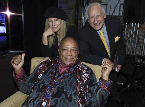 Barbra Streisand, Quincy Jones and Mel Brooks at the Geffen Playhouse's 15th Annual Backstage at the Geffen fundraiser on March 19, 2017 (Photo: Business Wire)