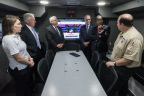 Members of Port Houston Emergency Management Team provide Port Commissioners tour of the new Mobile Command Center. Port Commissioner Theldon Branch (middle right) asks Port Houston Emergency Manager Colin Rizzo (far right) question during demonstration. (From left to right) Port Emergency Preparedness Coordinator Jessie Dowda, Port Commissioners Clyde Fitzgerald, John D. Kennedy and Dean Corgey. (Photo: Business Wire)