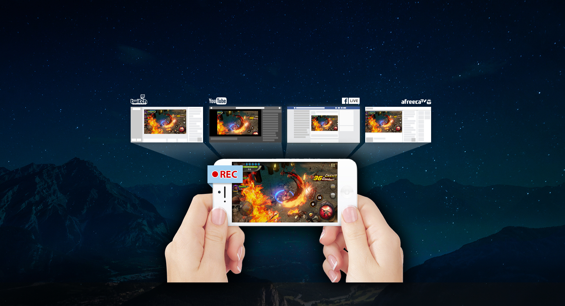 simultaneous recording/broadcasting of smartphone game screen using 'Jenaus Caster' (Graphic: Business Wire)