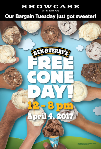 Showcase Cinemas to participate in Ben & Jerry's Free Cone Day (Graphic: Business Wire)