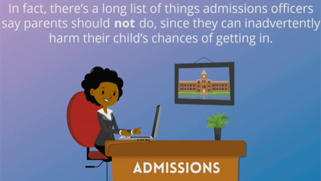 According to a new Kaplan Test Prep survey, college admissions officers offer this advice to parents of college applicants: Let your child sit in the driver's seat.