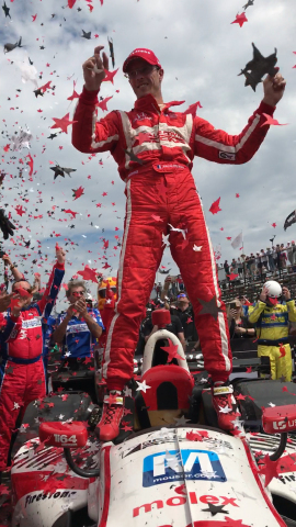 Sebastien Bourdais, driver of the Mouser-sponsored No. 18 car, celebrates his last-to-first win at the Firestone Grand Prix of St. Petersburg. The amazing win marks Bourdais' 36th IndyCar victory. Mouser Electronics and Molex are teaming up to sponsor the No. 18 car this season. (Photo: Business Wire)