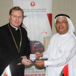 Prof. Al Alkim and Dr. Szuromi exchange tokens of appreciation at the conclusion of the signing ceremony (Photo: ME NewsWire)