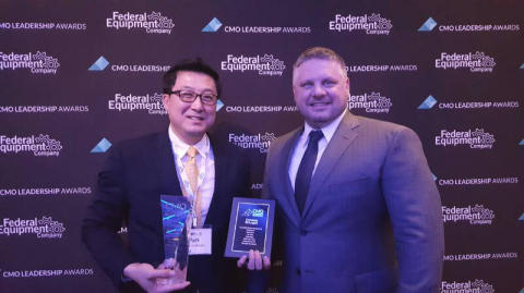Samsung BioLogics (KRX:207940), a leading biopharmaceutical cGMP manufacturing company based in South Korea, won 2017 CMO Leadership Awards. It has been recognized as a CMO Leadership Awards winner presented by Life Science Leader magazine for the fourth consecutive year since 2013. Samsung BioLogics won awards in all of the six core categories this year 2017: the overall quality, reliability, capabilities, expertise, compatibility, and development. At the CMO Leadership Awards ceremony held in New York W Hotel on March 22, 2017 'Samsung BioLogics' BD Team James Park VP (Left) and Main Sponsor 'Federal Equipment' Matt Hicks (COO)(Right) (Photo: Business Wire)