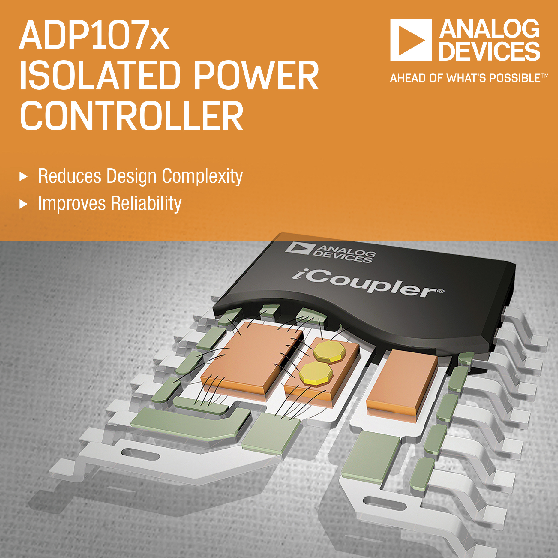Analog Devices' Integrated, Isolated Power Controller Series Reduces Design Complexity and Improves System Reliability (Graphic: Business Wire)
