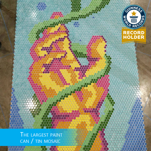 PPG Comex and its more than 750 dealers of COMEX® paints and coatings collaborated in Acapulco, Mexico, to achieve the GUINNESS WORLD RECORDS® title for the largest mosaic created with cans of paint in the world, shown here. The mosaic included 4,900 cans of paint that were later donated to help beautify spaces in needy areas of Mexico. (Photo: Business Wire)