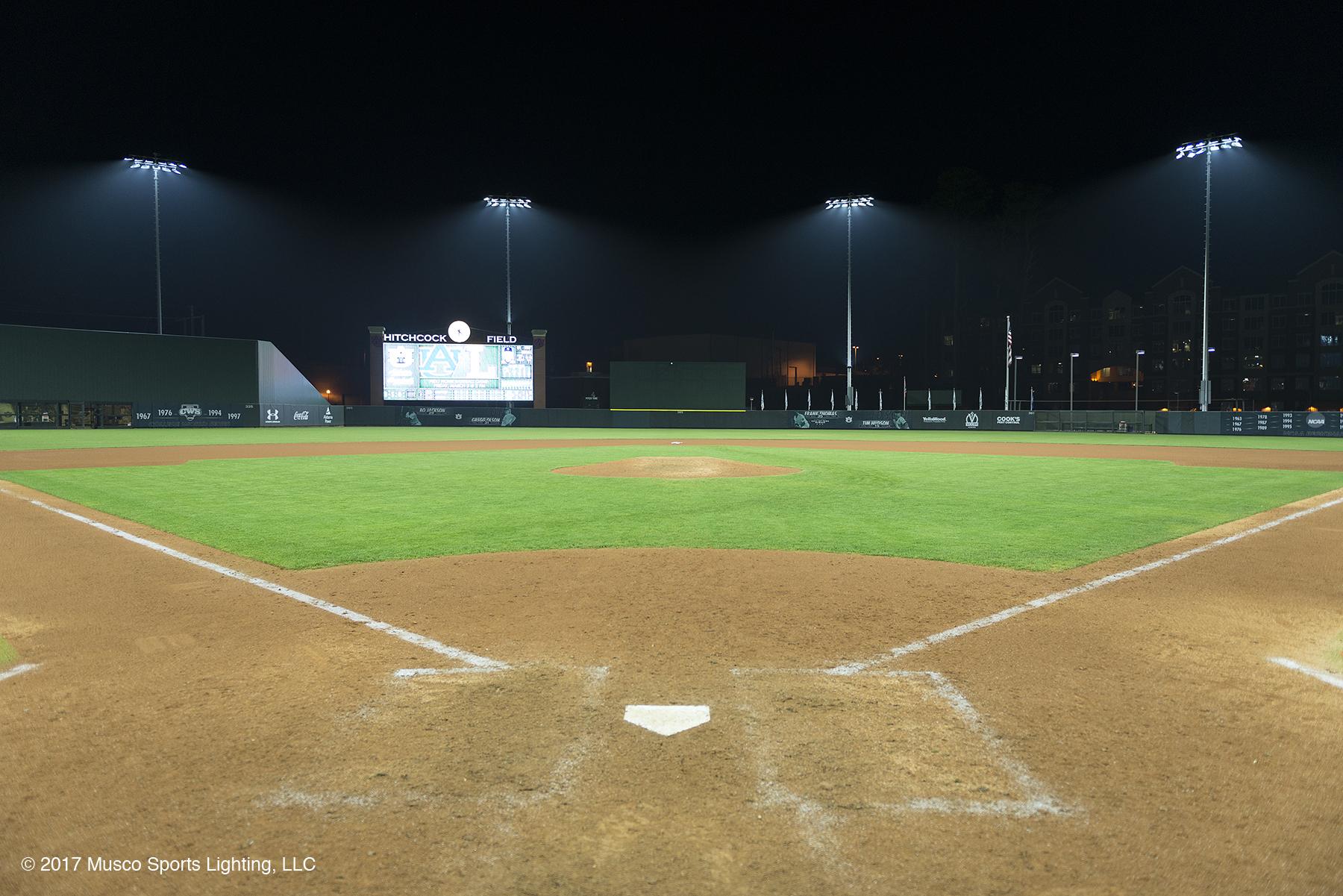 Custom optics developed around the LED light source reduce glare to improve visibility for players. (Photo: Musco Lighting)