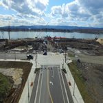 Bird's eye view drone footage of groundbreaking on The Grant Street Pier — 9 and 12 in Vancouver, Washington.