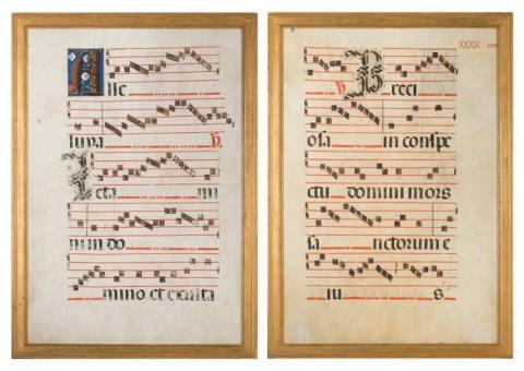 This historical antiphonal leaf musical manuscript from the late 15th/early 16th century is being offered at auction by Doyle as part of the Jessye Norman 'White Gates' Collection, with online bidding offered through Invaluable.com. (Photo: Business Wire)