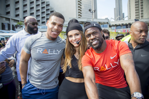 "Thousands came out to San Francisco's Justin Herman Plaza today to join Rally Health and Rally Health Ambassadors actor/comedian Kevin Hart, E! News host Maria Menounos and Los Angeles Chargers running back Melvin Gordon at the Rally HealthFest. This free event was held to show the community how making simple lifestyle changes can be fun and help improve overall health. Here, Ron ""Boss"" Everline, Menounos and Hart smile for the camera. (Photo: Business Wire)"