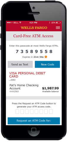 Use an 8-digit One-Time Access Code in place of a debit or ATM card at any Wells Fargo ATM. (Photo: Business Wire)