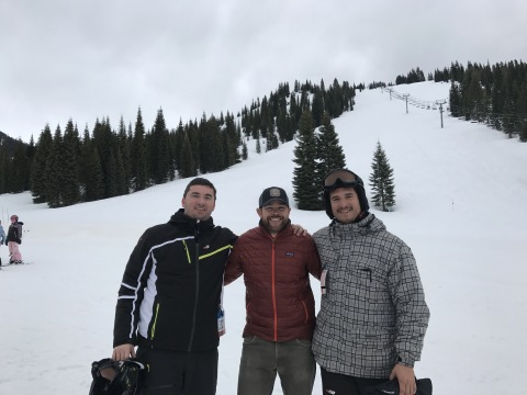 The two co-founders of Skitude, Marc Bigas (left) and David Huerva (right) during a meeting in a Californian ski resort (Photo: Skitude)