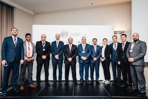 S.E Scheich Saoud Bin Abdulrahman Al Thani, Botschafter des Staates Katar in der Bundesrepublik Deutschland, sowie führende Repräsentanten von QFC, Manateq und Ghorfa bei der QFC Germany Roadshow (Foto: ME NewsWire)
