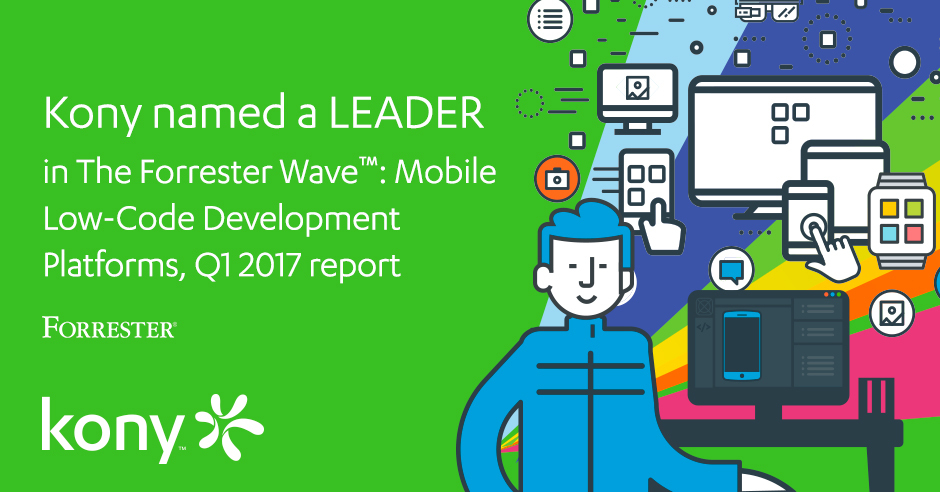 Independent research firm, Forrester, just published a new report on Mobile Low-Code App Development Platforms and Kony achieved the highest overall rating in current offering, after a rigorous evaluation process of research, analysis and scoring of 11 companies based on a 24-criteria.  (Graphic: Business Wire)