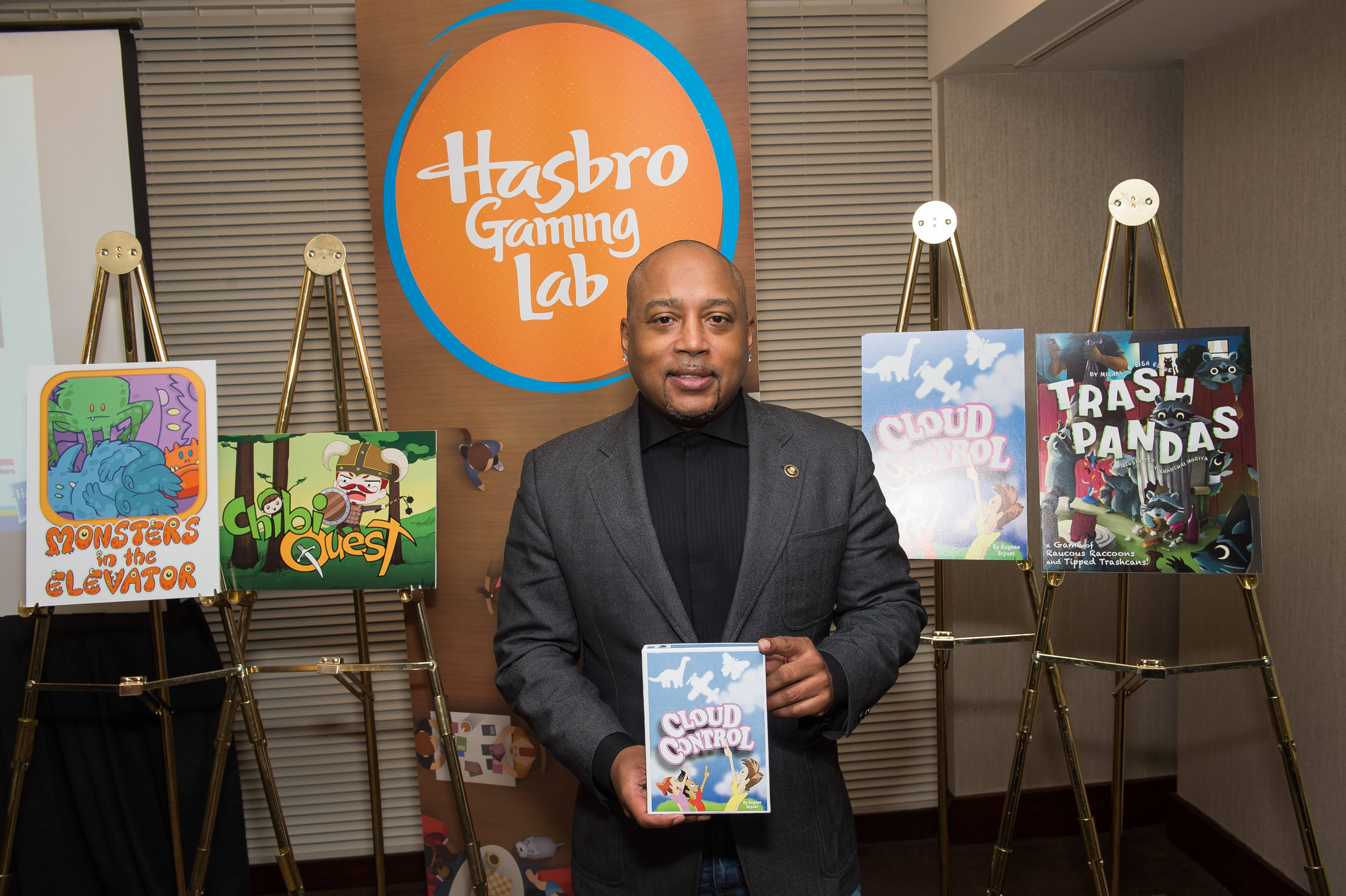 "Hasbro and Daymond John, creator of FUBU and co-star of ABC's Emmy Award winning series ""Shark Tank,"" select Cloud Control as the grand prize winner in latest Gaming Challenge. (Photo: Business Wire)"