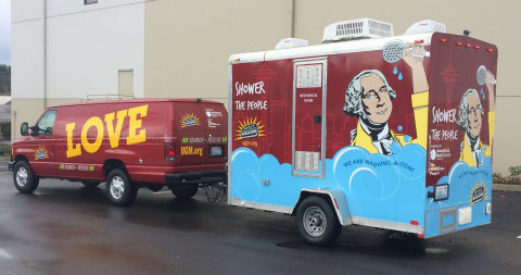 Seattle's first mobile shower unit will provide a fresh start for neighbors experiencing homeless thanks to Amerigroup Washington, Seattle Union's Gospel Mission and The MORELove Project. (Photo: Business Wire)