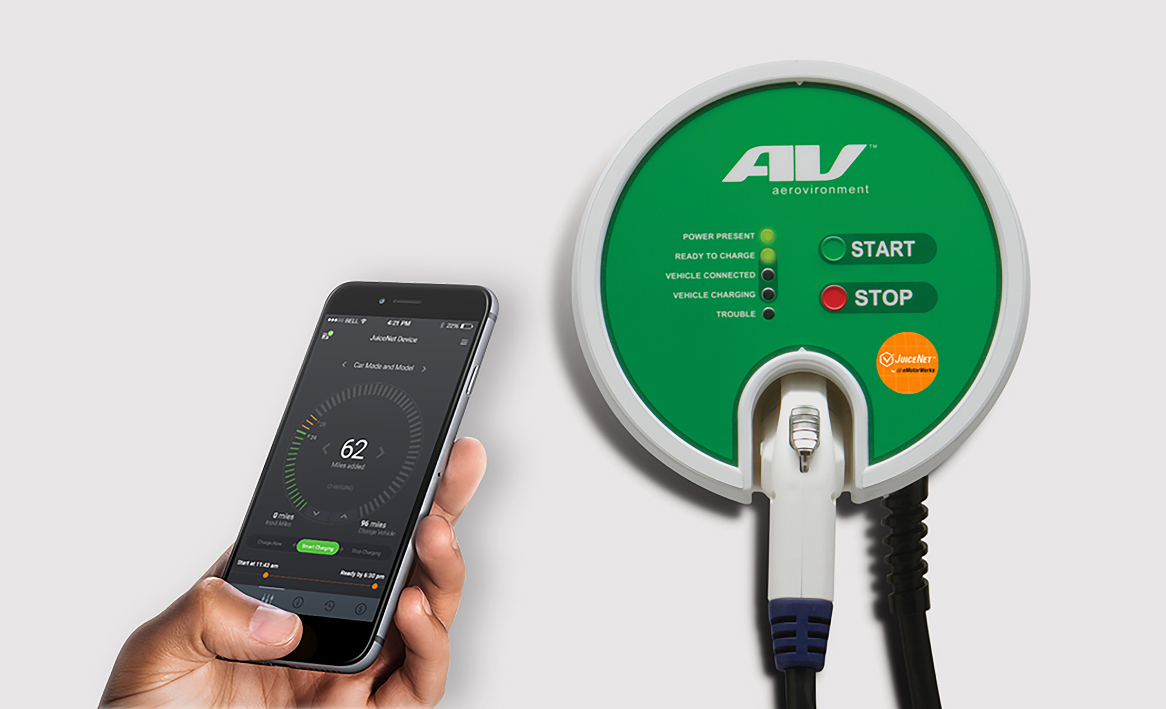 The AeroVironment EVSE-RS with built-in JuiceNet technology and connected JuiceNet Mobile App (Photo: Business Wire)