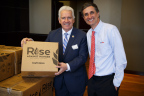Rep. Jim Costa (D-Calif.) on the left and Kraft Heinz CEO Bernardo Hees (right) joined about 100 participants at a meal-packaging event in Washington, D.C. on Tuesday. Together, business executives, members of Congress and representatives from food and agriculture organizations packaged more than 7,500 meals for the international hunger relief organization Rise Against Hunger. Photo courtesy of Kraft Heinz