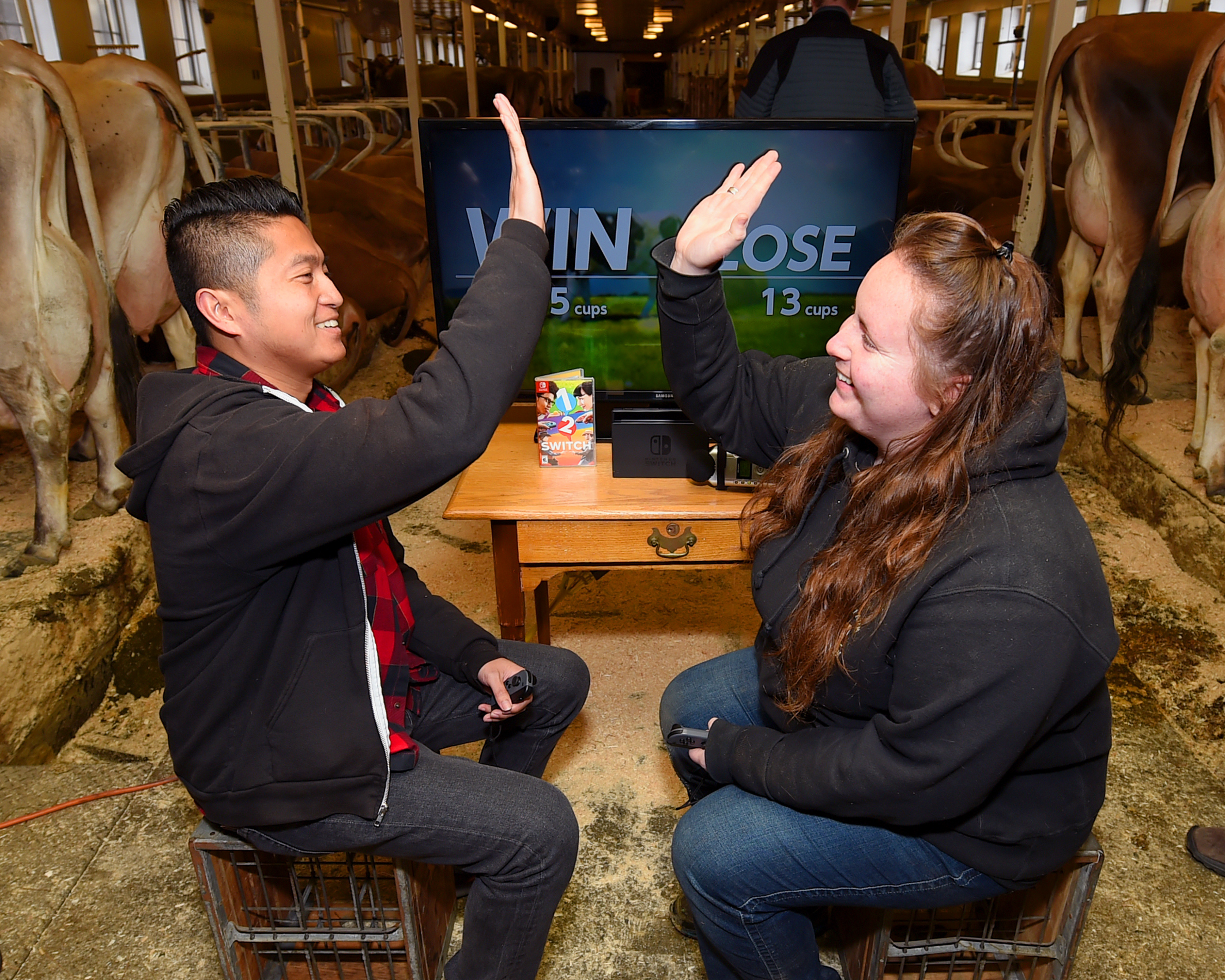 In this photo provided by Nintendo of America, gamers from Nintendo grabbed victory by the udder in a head-to-head challenge in Milk, one of 28 games in 1-2-Switch. The game, which uses the Nintendo Switch Joy-Con controllers to let players compete in fun and outrageous activities, launched worldwide alongside Nintendo Switch on March 3. (Photo: Business Wire)