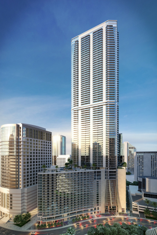 Hyatt Centric Brickell Miami is expected to open in Q3 2017 within the 83-story Panorama Tower. (Pho ...