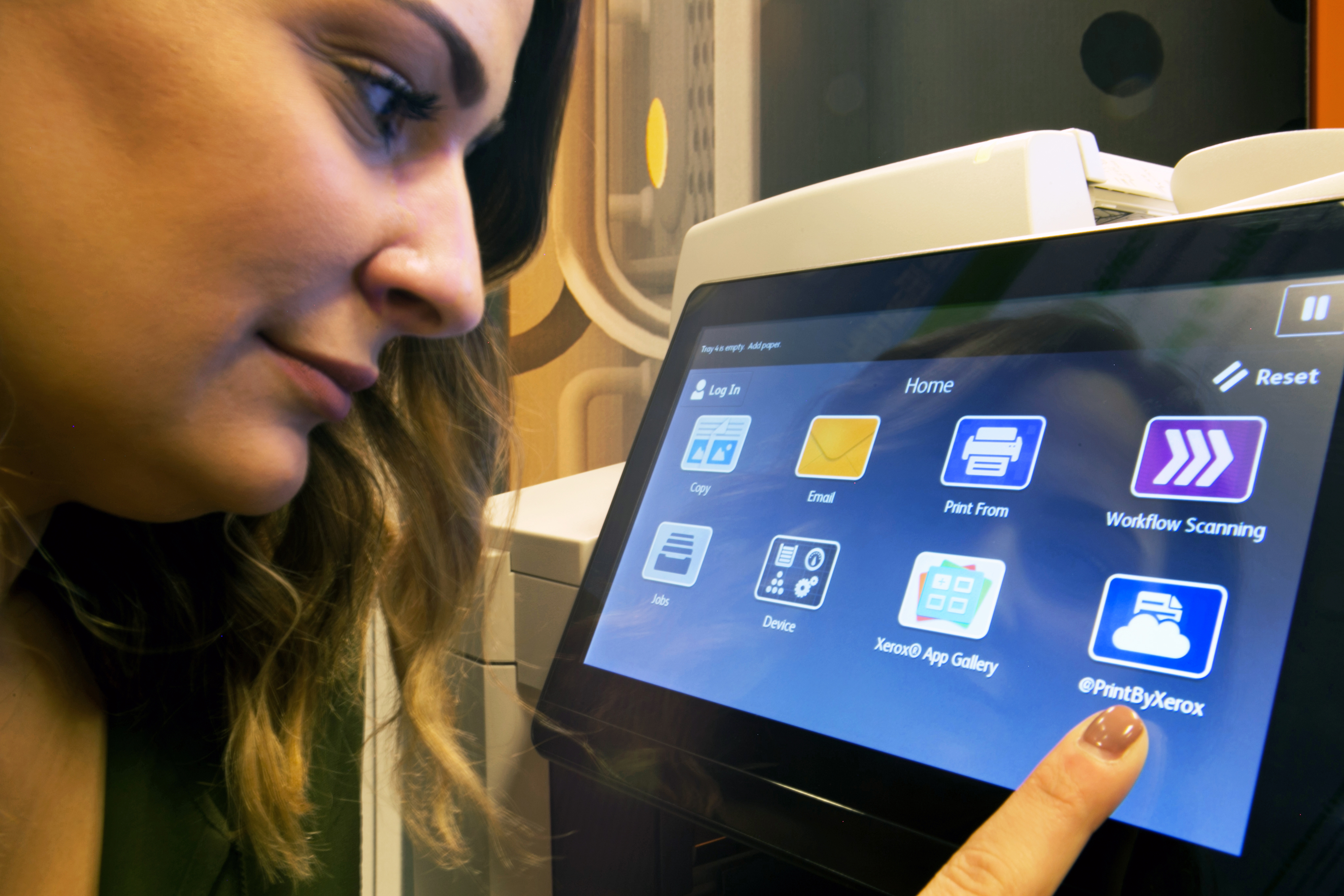 Xerox Engineers Develop the New ConnectKey User Interface: Now you can interact with your printer with the same types of finger swipes used on your smartphone or tablet. Xerox engineer Kaitlyn Reidy helped develop an interface for Xerox ConnectKey-enabled multifunction printers that integrates the device with the app world, making it easier for people to connect, communicate and work. (Photo: Business Wire)