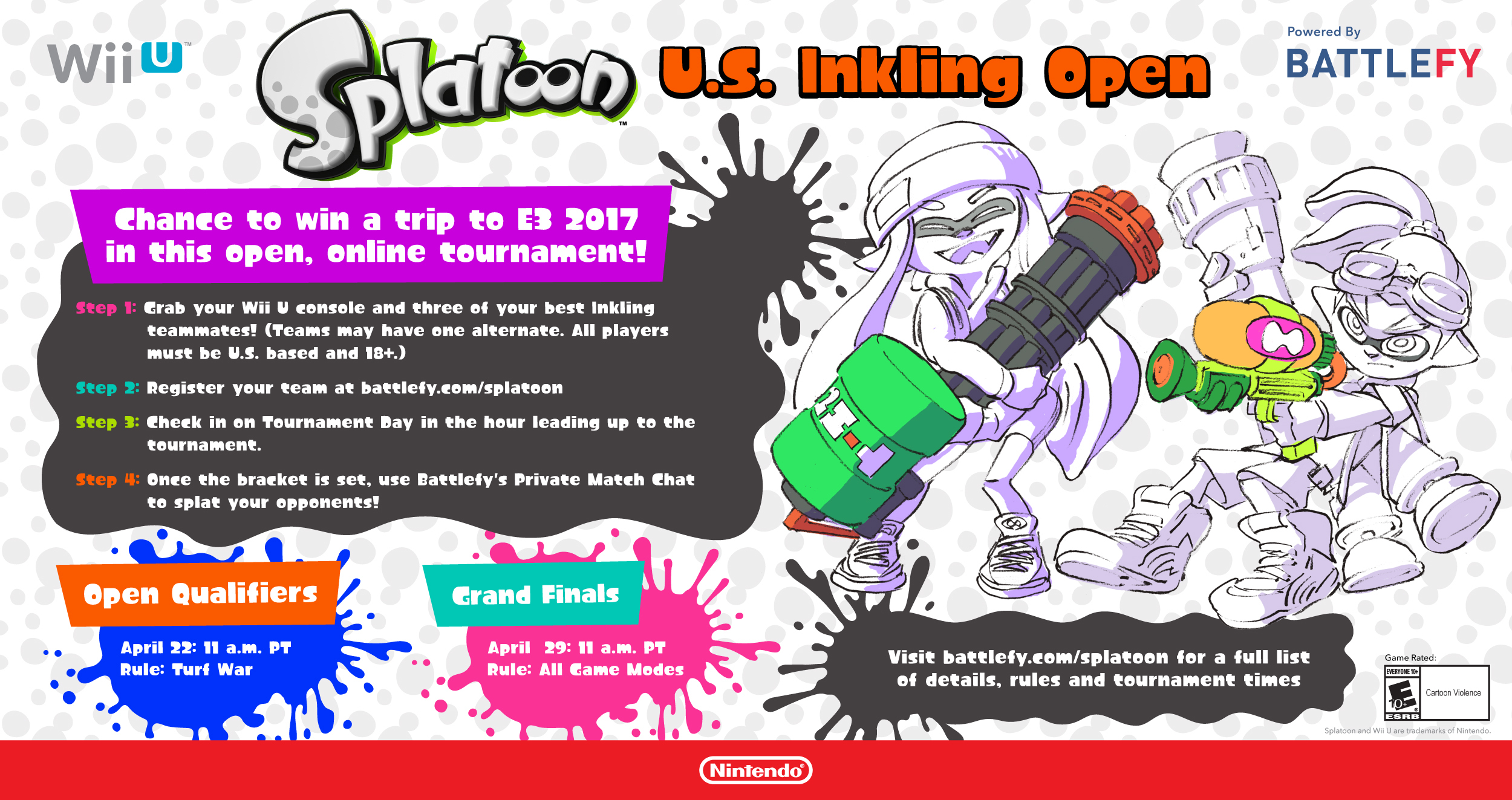 Show Off Your Skills in the Splatoon U.S. Inkling Open Tournament For a Chance to Win a Trip to E3 2017 (Graphic: Business Wire)