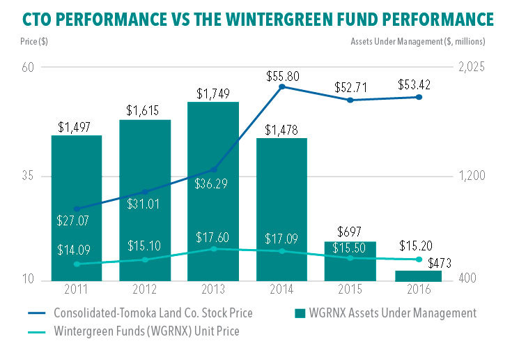 CTO Performance vs The Wintergreen Fund Performance (Graphic: Business Wire)