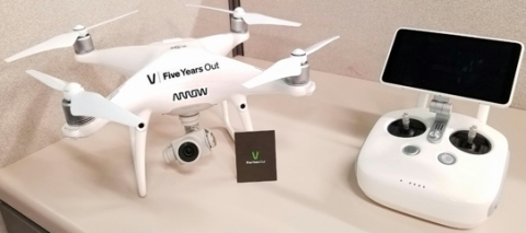 Arrow uses drones to observe its extensive global warehouse and logistics operations. The birds-eye view helps warehouse teams more effectively identify areas for continuous improvement. The employee-driven initiative has already eliminated more than 6.5 million walking steps in warehouse processes since Arrow launched it in late 2016. (Photo: Business Wire)
