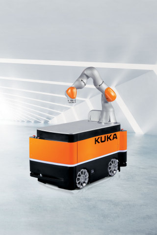 The KMR iiwa combines the strengths of the sensitive LBR iiwa lightweight robot with those of a mobile, autonomous platform. (Photo: Business Wire)