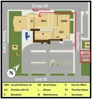 First Baptist Church of New Braunfels media access and parking map (Photo: Business Wire)