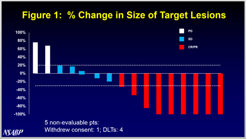 "A waterfall plot showing ""% Change in Size of Target Lesions"" from Puma Biotechnology's FB-10 Trial in HER2-positive metastatic breast cancer is attached. (Graphic: Business Wire)"
