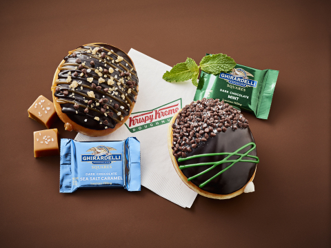Krispy Kreme Doughnuts introduced two new doughnuts made with Ghirardelli on April 3. The Sea Salt Caramel Doughnut and the Mint Chocolate Doughnut are available at participating shops in the U.S. and Canada. (Photo: Business Wire)