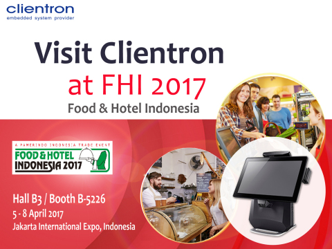 Clientron to showcase its POS innovation at Food & Hotel Indonesia 2017 (FHI 2017) (Graphic: Business Wire)