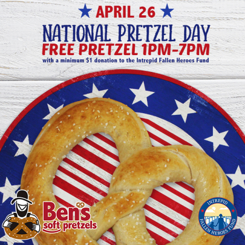 Ben's Soft Pretzels to give away free pretzels on April 26 with a minimum $1 donation to the Intrepid Fallen Heroes Fund. (Photo: Business Wire)