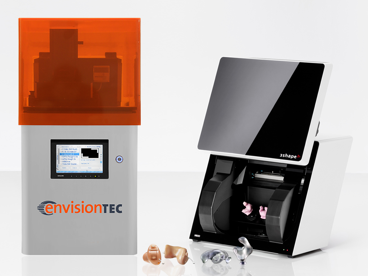 3D technology leaders EnvisionTEC and 3Shape are now selling a turnkey system to 3D scan, model and print in-ear devices. The package includes a 3Shape H600 3D scanner and a choice of two EnvisionTEC desktop printers, in addition to software and training. (Photo: Business Wire)