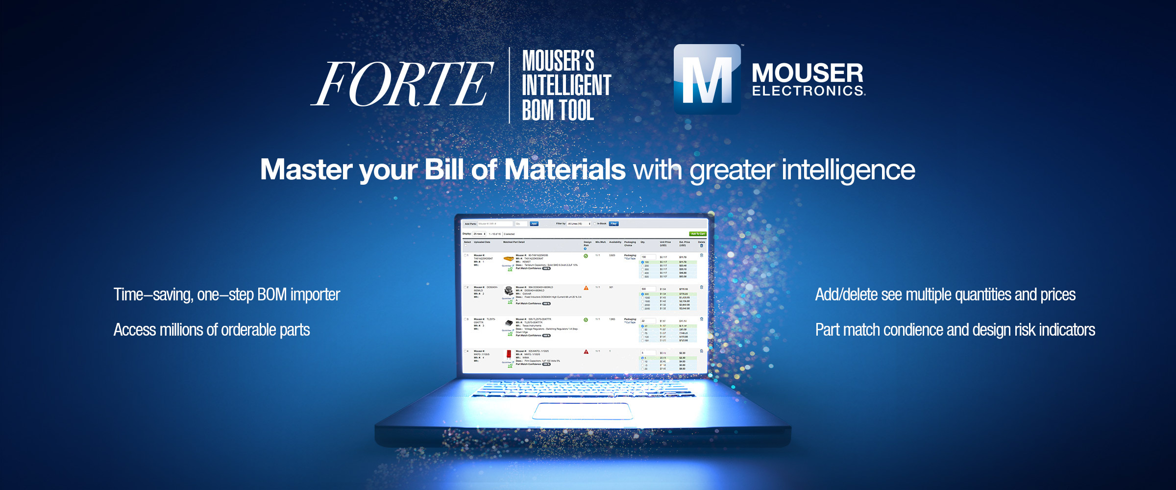 Mouser Electronics is pleased to announce FORTE — Mouser's intelligent BOM tool. FORTE is a comprehensive bill of materials (BOM) management tool designed to increase confidence, save time, and improve order accuracy in specifying and purchasing electronic components. (Photo: Business Wire)