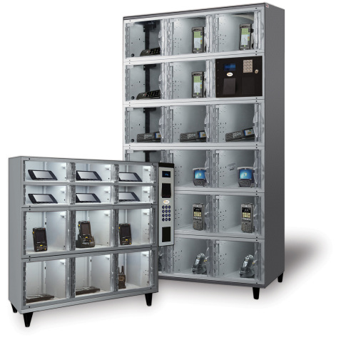 Reduce Mobile Device Replacement Costs: Companies using AXCESS self-serve, automated lockers from Apex Supply Chain Technologies save 40% on mobile device replacement costs. The secure, smart lockers are on display in booth S5036 at ProMat Show 2017 through April 6, 2017. Visit http://www.apexsupplychain.com/feature/axcess/ for more. (Photo: Business Wire)