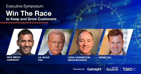 "Featured speakers at the ""Win the Race to Keep and Grow Customers"" Executive Symposium include Nick Mehta, CEO of Gainsight; J.B. Wood, CEO of TSIA; Christopher M. Carrington, CEO of ServiceSource; as well as guest presenter and professional racer, Derek Hill. (Graphic: Business Wire)"