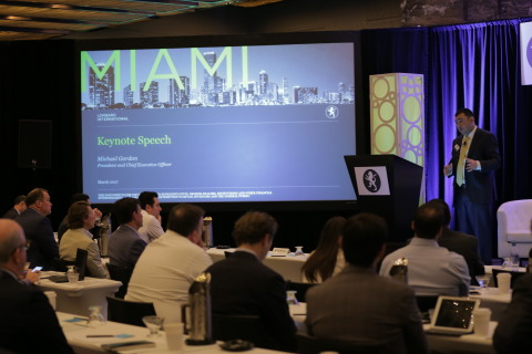 Lombard International's CEO, Michael Gordon, delivers a keynote speech at the company's annual Alpha Alliance conference. (Photo: Business Wire)