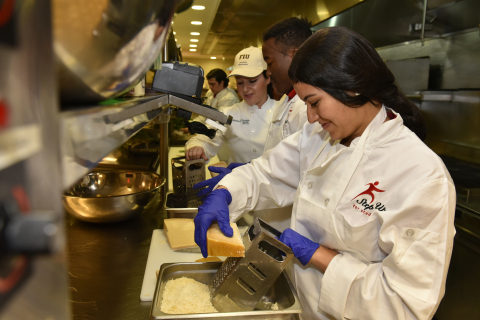 Step Up For Students Scholarship recipients from Monsignor Edward Pace High School receive a hands-on cooking experience at the FIU Chaplin School of Hospitality & Tourism Management (Photo: Business Wire)