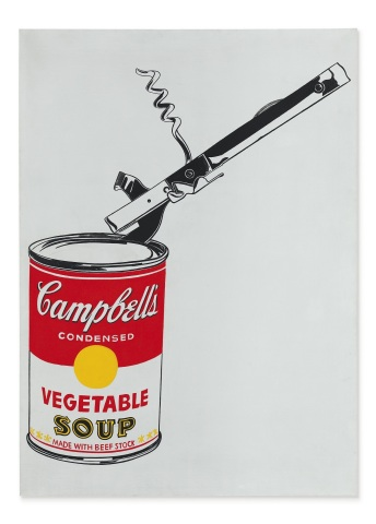 Andy Warhol, Big Campbell's Soup Can with Can Opener (Vegetable), casein and graphite on linen, 1962. Estimate on Request (Photo: Business Wire)