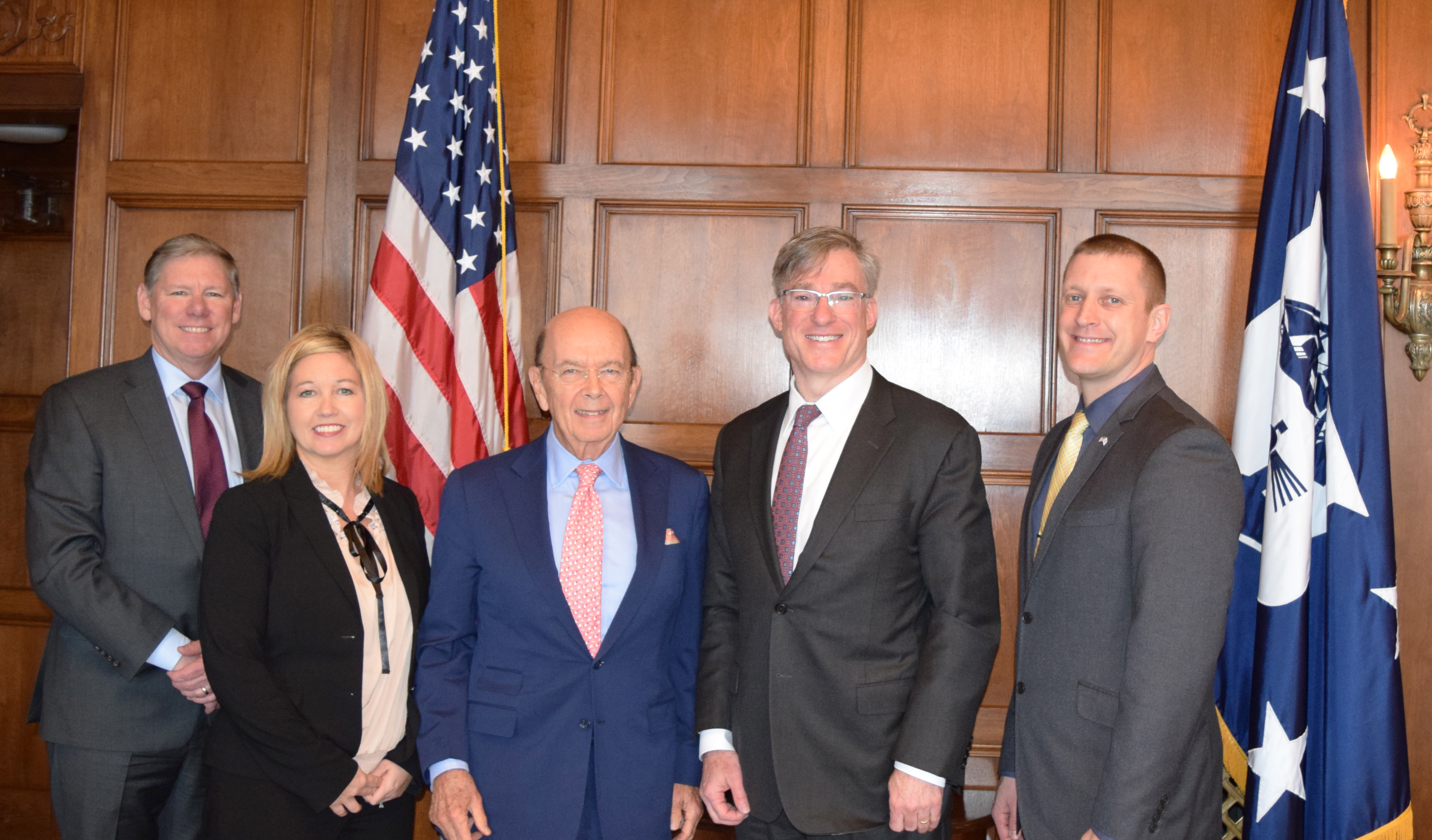 Rockwell Automation CEO Blake Moret and Commerce Secretary Wilbur Ross Jr. discuss a variety of topics related to advanced manufacturing. In this photo (left to right): Bruce Quinn, vice president, Government Affairs, Rockwell Automation; Rachael Conrad, regional vice president, Rockwell Automation; Wilbur Ross Jr., commerce secretary; Blake Moret, president and CEO, Rockwell Automation; and Patrick Leon, buyer, Rockwell Automation. (Photo: Business Wire)