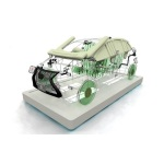 Wire mock-up car displaying safety and environmental products (Photo: Business Wire)