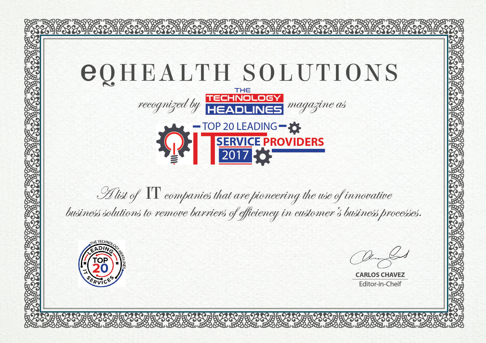 eQHealth Solutions Named a Top 20 Leading IT Services Company (Photo: Business Wire)