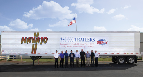 From left to right: Tony Afarian, Utility Trailer Manufacturing Co.; John Harris, Utility Trailer Manufacturing Co.; Hal Bennett, Utility Trailer Manufacturing Co.; Don Digby Jr., Navajo Express Inc.; Jeff Bennett, Utility Trailer Manufacturing Co.; Shane Gregerson, Navajo Express Inc.; Bill Hathorn, Utility Trailer Sales of Colorado; Travis Martin, Utilty Trailer Sales of Colorado; Todd Smith, Utility Trailer Manufacturing Co. (Photo: Business Wire)