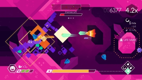 Skillfully pilot the Graceful Explosion Machine, a fighter ship armed with a ludicrously overpowered quad-weapon array. Lost in deep space, you'll shoot, dash and combo your way through jewel-hued alien worlds, fighting crystalline enemies to find a way home. (Photo: Business Wire)